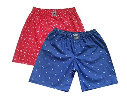 UNO Boys Pure Cotton Printed Shorts/Boxers Combo of 2 (01,11) - 13-14 Years Red
