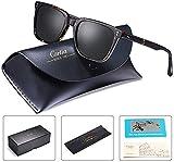 Carfia Retro Herren Sonnenbrille Outdoor Polarisierte Sonnenbrille für Fahren Golf Freizeit, 100% UV 400 Schutz (Rechteckig - Rahmen: Schildpatt; Linsen: Schwarz)