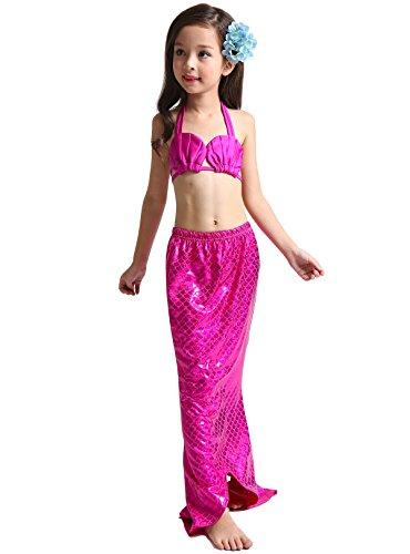 Nike Elastische Taille Rock (Das beste Mädchen Badeanzug Meerjungfrau Schwanz Bademode Bikini Set Kleinkind Bade Kostüm 3tlg. Muschel Gebilde)