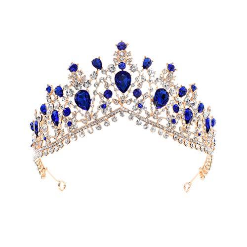 Frcolor Damen Krone, handgefertigt, luxuriöser Prinzessinnenhaarreif mit künstlichen Strasssteinen, Hochzeit, Brautschmuck, Haaraccessoires (Golden + Blau)