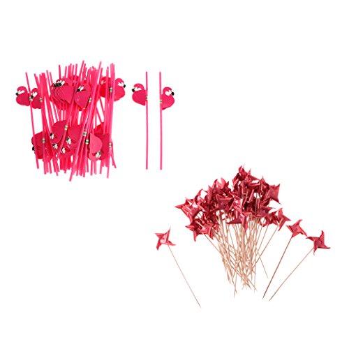 MagiDeal 50pcs Palillos de Bambú para Cóctel Diseño con Molino de Viento de Papel+25pcs Pajitas de Plástico Flamingo