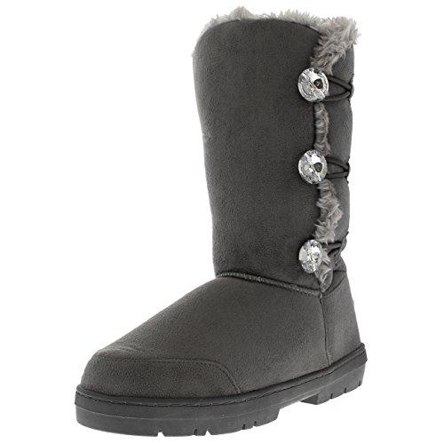 Holly Damen Dreiergruppe Diamond Taste Hohes Fell Wasserdicht Winter Regen Schnee Stiefel - Grauer Diamant - UK9/EU42 - AEA0513