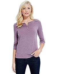 d2b6d3b02aa192 Marks and Spencer Ladies Heatgen Long Sleeve Henley Neck Textured Winter  Tops