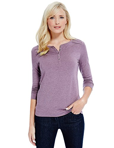 Marks and Spencer Ladies Heatgen Long Sleeve Henley Neck Textured Winter Tops