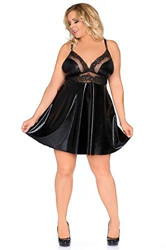 Andalea Erotisches schwarzes Damen Dessous Wetlook Babydoll mit Spitze XXL Chemise Minikleid 54/56 -