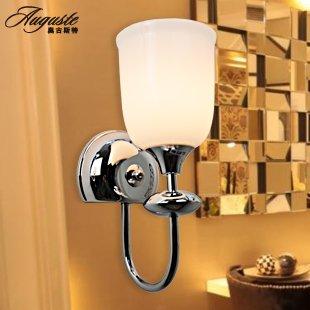 metallo cromato singola lampada da parete in vetro bianco ombra fino round di apertura telaio di stile moderno minimalista lampada da parete 150*300mm