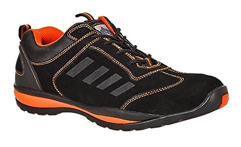 Steelite Lusin S1-P Steel Toe Cap Lightweight Workwear Safety Trainer (8 UK, Black/Orange)
