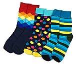 Farbige Socken-Mischung (bunt) aus Baumwolle im 3er-Set für Herren (41-44) | Statt schwarze Anzugsocken lieber coole Muster (blau-gelb): Ringelsocken, Punkte & Rauten | Originelles Geschenk für Männer