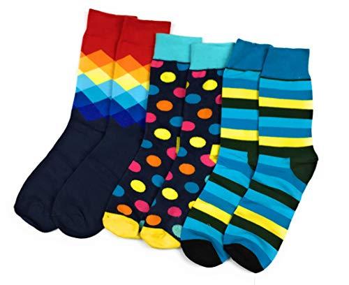 CHEEKY BUSINESS Bunte Socken (Größe 41-44): 3er-Set Baumwollsocken mit verschiedenen Mustern für Herren und Damen -