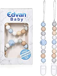 Baby Pacifier Clip with Silicone Teething Beads - BPA Free Universal Teething Toy Leash Holder for Teether Toy
