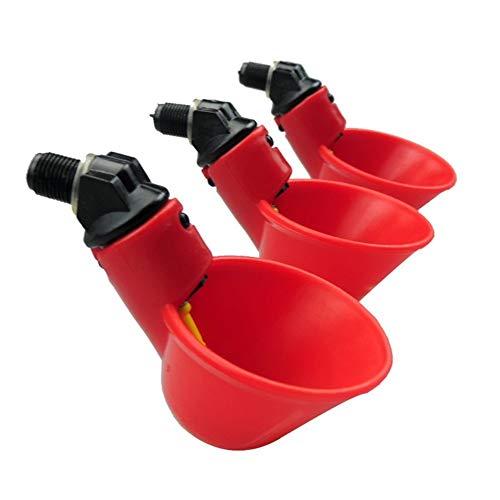 Farm & Ranch - Comedero automático para aves de corral y aves de corral con vasos de riego y cuencos de plástico rojo, diseño de gallina