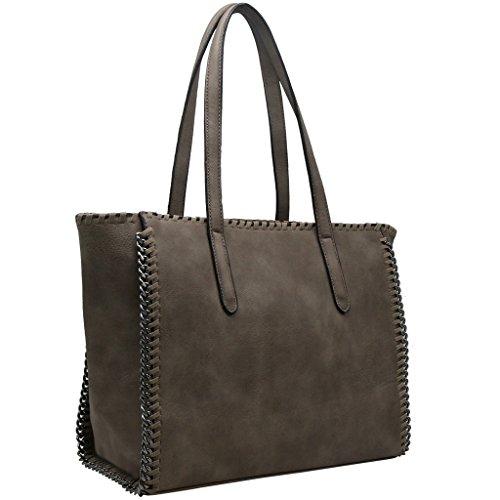 CRAZYCHIC - Borsa a mano donna con catena e treccia sul contorno della borsa - Imitazione pelle Grande formato Tote shopper bag - Moda borsa a spalla grandi dimensioni e lunga maniglia Talpa Marrone