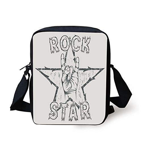 CBBBB Popstar Party,Rock Star Theme High Sign and Star Figure Grungy Sketch Gesture Vintage Decorative,Black and White Print Kids Crossbody Messenger Bag Purse 3 Cell White Star