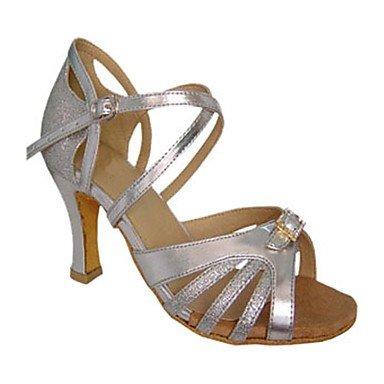 Scarpe da ballo-Personalizzabile-Da donna-Balli latino-americani / Jazz / Salsa / Scarpe da swing-Tacco su misura-Raso / Finta pelle- Red