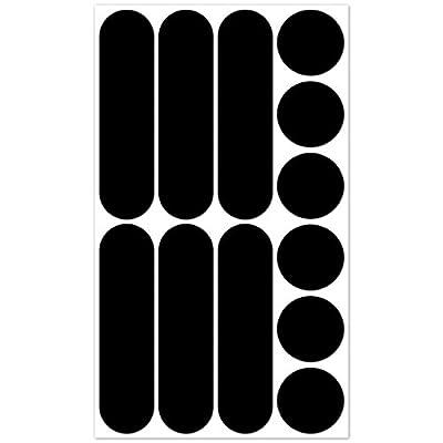 B REFLECTIVE, 12 Stück Kit universal retro reflektierende Aufkleber, Nacht Sicherheit Signalisierung Klebeband Reflektor, für Fahrrad / Kinderwagen / Motorradhelme / Motorrad / Spielzeug, Schwarz
