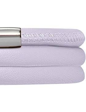 Endless Lederarmband in Lavendel drei-reihig mit Edelstahl Verschluss