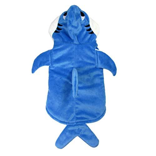 FLAMEER Fisch Design Hundemantel Halloween Verkleidung Cosplay Kostüm Hoodie Wintermantel Jacke für Hund und Katze - Blau Haifisch, L