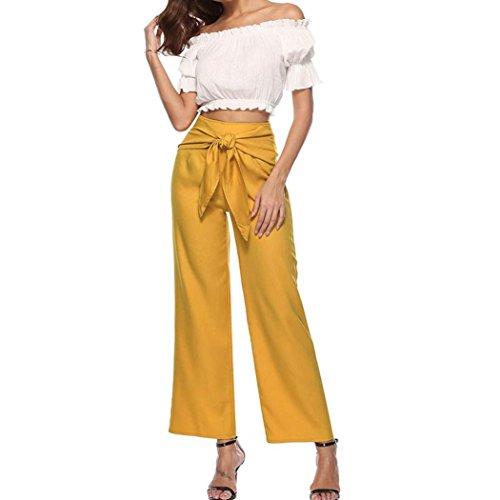 MOIKA Damen Weite Hose Paperbag Hose Casual Festliche Hosen Weite Bein Hohe Taille mit Breiter Gummibund und Gürtel(S,Gelb) (Lammfell-leder-hosen)