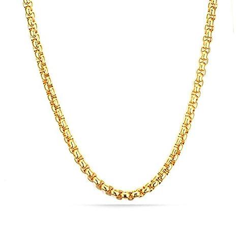 Vnox 18K plaqué or en acier inoxydable Rolo chaîne de collier pour les hommes pendentif chaîne d'accessoires 4.0mm,50cm - 18k Crocifisso