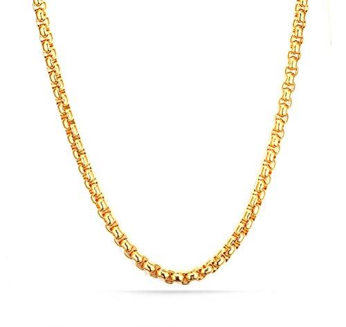 Vnox - cod. NC-081G Collana in acciaio inox placcato oro 18K, da uomo, lunghezza 49;cm, acciaio inossidabile, colore: Gold(Wheat Chain),
