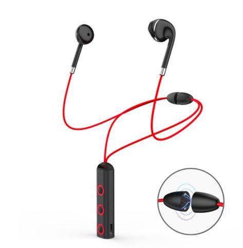 Dreamantech - cuffie senza fili cuffie bluetooth cuffie magnetiche classic auricolari cuffie stereo kit vivavoce con microfono collana con chiusura magnetica - nero e rosso