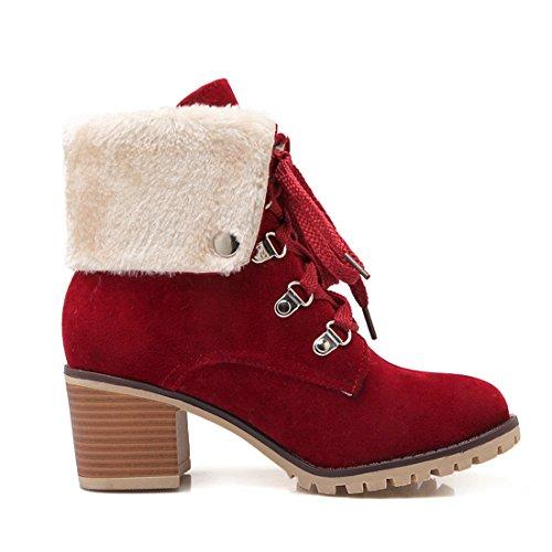Pele De Confortável E Quente Bloco Forro Calcanhar Cair Salto Com Tornozelo Sapatos Calcanhar Do Vermelho Meio Mulheres Rebites Vós Botas Lacing Inverno 6cm 8awzqz