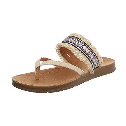 Ital-Design Zehentrenner Damen-Schuhe Sandalen & Sandaletten Beige, Gr 39, 5213-