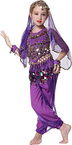 Mädchen Kostüm Indien - Seawhisper Jeannie Kostüm für Kinder Mädchens Faschings-Kostüm Indische Bauchtänzerin Kostüme 152/164