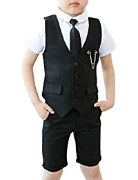 3 Piezas Traje Conjunto para Niño Chaleco+ Camisa Manga Corta + Pantalones Cortos + Corbata