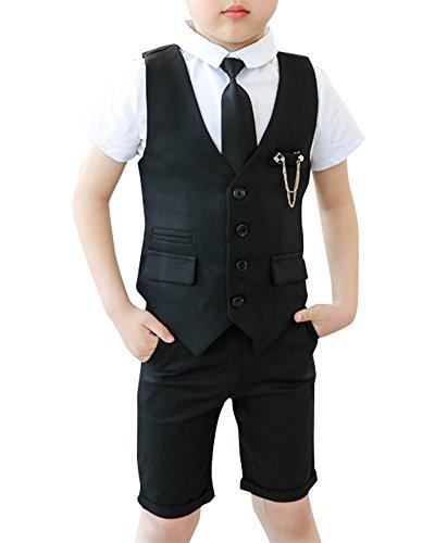 Junge Kinder Kind Anzug Hochzeit 3 Stück Anzüge Weste + Kurzarm Hemd + Kurze Hose + Krawatte Schwarz XL - 3 Stück Drei Stück Anzug