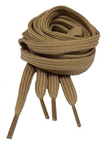 Big Laces - Lacci per scarpe piatti, misure e colori assortiti, Beige (Dark Beige), 7mm X 140cm