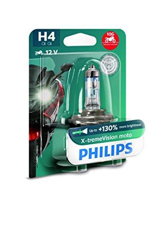 Philips 12342XV+BW X-tremeVision Moto +130{07868879fbdfca75bca45abd89bd26b91b4a72a750d98cfd3afc510cac402762} H4 Motorrad-Scheinwerferlampe, 1 Stück