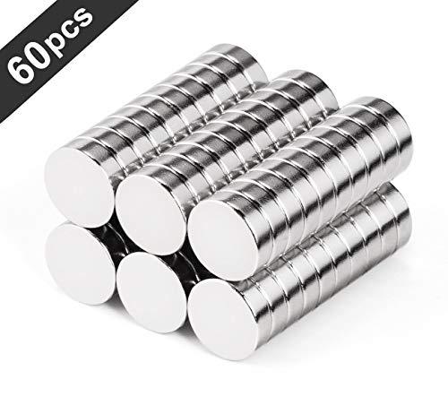 Neodym Magnete 10x3mm 60er Minimagnete Extrem Stark Rund Klein Magnete für Whiteboard Magnetboards Pinnwand Magnettafel Kühlschrank ca. 2 Kilo Haftstärke