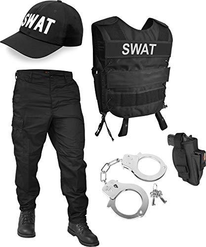 normani SWAT oder Security Kostüm bestehend aus Weste, Patch, Hose, Cap und Handschellen - [S - 6XL] Farbe SWAT Größe ()