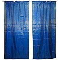 Mogul Interior 2 Indian Sari Curtain Drape Blue Window Treatment Home Decor 96x44