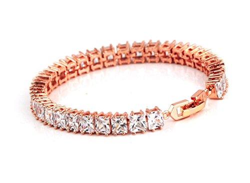 Kostüm Tennis Armbänder - Weiß vergoldetes Tennis-Armband mit Zirkonia-Kristallen als rosenförmige Klötze, mit sicherem Verschluss rose gold