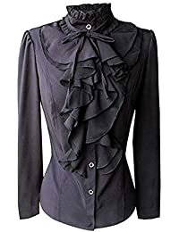 82ead4b1de32 Fanxing Damen Top Hemd Spitze Schnüren Solide Lace Langarm Chiffon  Rüschenkragen Tie Shirt Bluse