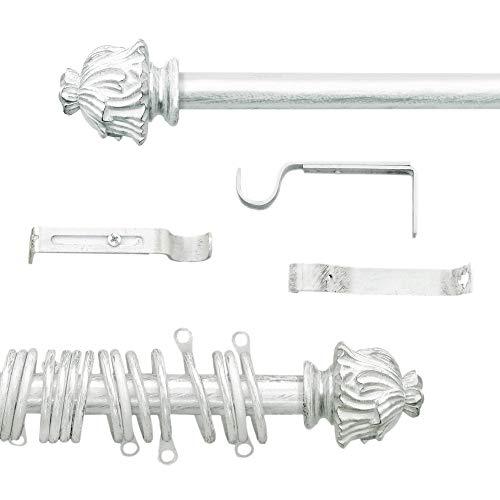 AT17 Gardinenstange Vorhangstange Gardinenstange Variable Länge Landhaus Shabby Chic - Vintage - 160-300 - Durchmesser 2 cm - Weiß/Silber - Metall (Lange Gardinenstange Weiße)