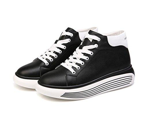 Chaussure femme plate-forme loisir soulier lacet sport compensé basket mode Noir