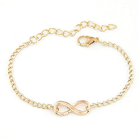 Malloom® New Women Men Special Handmade Gift Charm 8 Shape Jewelry Infinity Bracelet (gold)