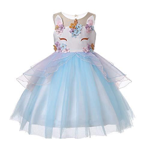 OHBABYKA Little Girls Cute Casual Blumenmädchen Einhorn Kostüm Kinder Festzug Prinzessin Partykleid (5 Years, ()