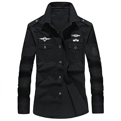Beikoard camicia alla coreana camicetta superiore da uomo a maniche lunghe con bottoni a collo alto, stile militare casual da uomo(black,xxl)