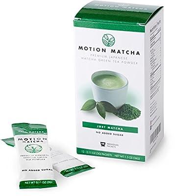 Motion Matcha Single Serving Prime thé vert Matcha Poudre To Go Sticks (Juste matcha) (12 paquets de portions individuelles)
