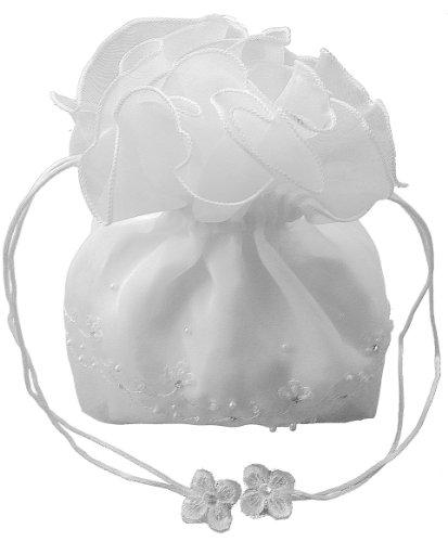 LadyMYP© Brautbeutel, Brauthandtasche: Organza mit gestickter Bordüre aus Perlen & Strass, weiß/ivory (weiß) (Perle Gestickter)