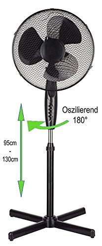 Produktbild Standventilator 40 Watt, Ø41 cm| Oszillierender Ventilator | Windmaschine | Klimagerät | Turmventilator | Ventilator | Bodenventilator | Fan | 3 Stufen | Höhenverstellbar | Leiser Betrieb (Schwarz)