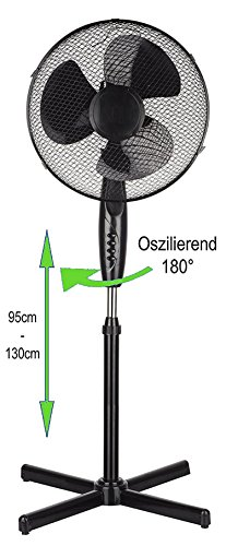 Standventilator 40 Watt, Ø41 cm| Oszillierender Ventilator | Windmaschine | Klimagerät | Turmventilator | Ventilator | Bodenventilator | Fan | 3 Stufen | Höhenverstellbar | Leiser Betrieb (Schwarz)