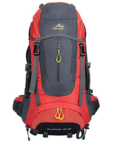 70L Outdoor Trekkingrucksacke - Wasserdicht Reiserucksack Wanderrucksack Sport Radfahren Klettern Rucksack Damen Herren, rot, 70L