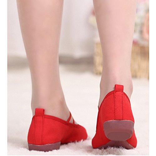 DorkasDE Damen Gymnastikschuhe Mädchen Tanzschuhe Kunstturnschuhe Ballett Schuhe Oxford Sohle Canvas Obermaterial Rot