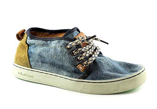 SATORISAN 171010 Yasuragi bleu chaussures jean lacets plus haut hommes Blu