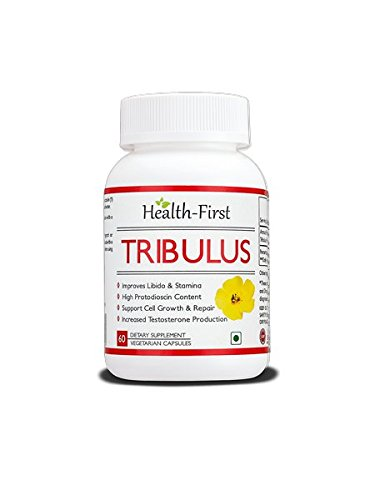 Booster de testostérone par Health-First - Tribulus Terrestris 60 Count Saponins 45% - La plus grande pureté sur le marché - Tribulus Daily Servant Force maximale de 1600mg (60 Capsules)